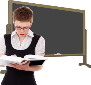 female teacher blackboard